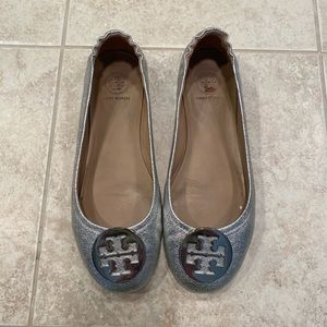 Tory Burch Silver Minnie Ballet Flat Size 8